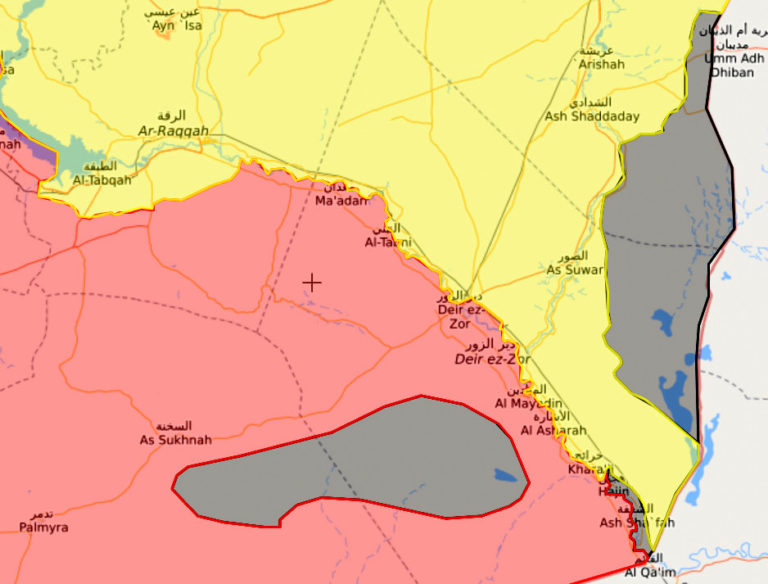 A map of the territory held by ISIS (grey) at the Syrian-Iraqi border in the U.S. controlled zone north of the Euphrates (yellow). April 24, 2018. Source | Syria Live Map