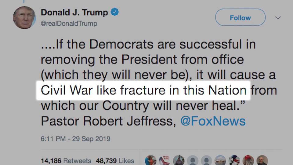H2 trump impeachment tweet twitter civil war savages